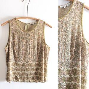 Vintage 80's sequined Lillie Rubin sheer blouse